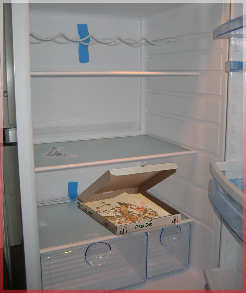 empty fridge pizza box