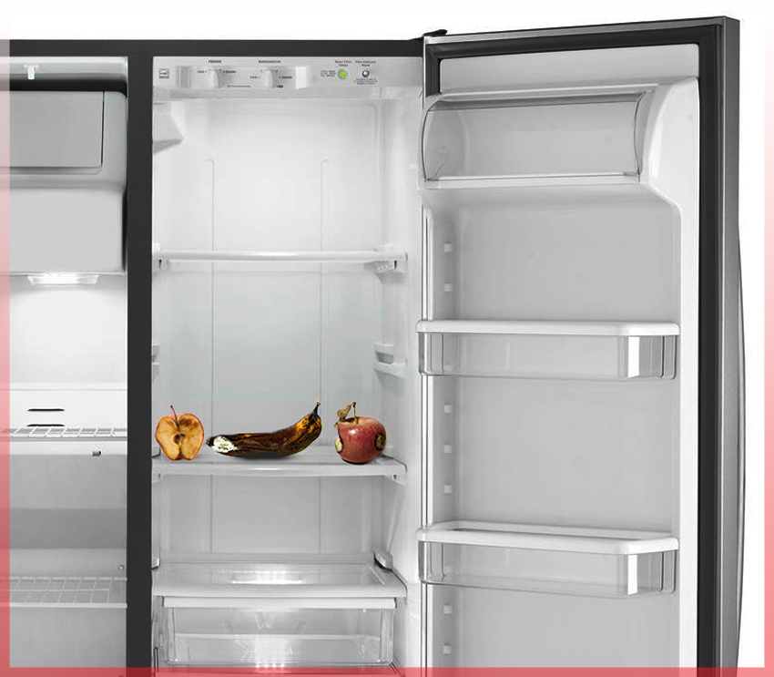 empty fridge rotten fruits