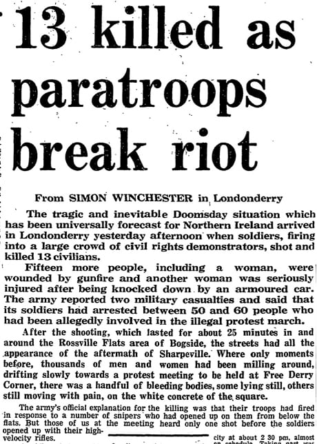 Bloody Sunday: Η χιλιοτραγουδισμένη Κυριακή που «μάτωσε» η Β. Ιρλανδία